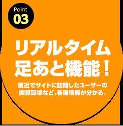 ポイント03:リアルタイム足あと機能!直近でサイトに訪問したユーザーの閲覧環境など、各種情報が分かる。